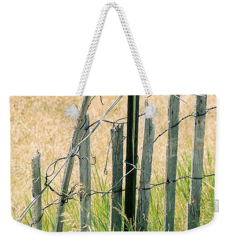 Fence Weekender Tote Bag featuring the photograph Broken Fence by Lauri Novak