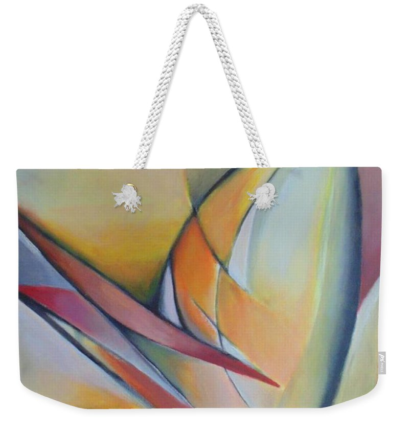 Abstract Weekender Tote Bag featuring the painting Broken Flowers by Despoina Ntarda