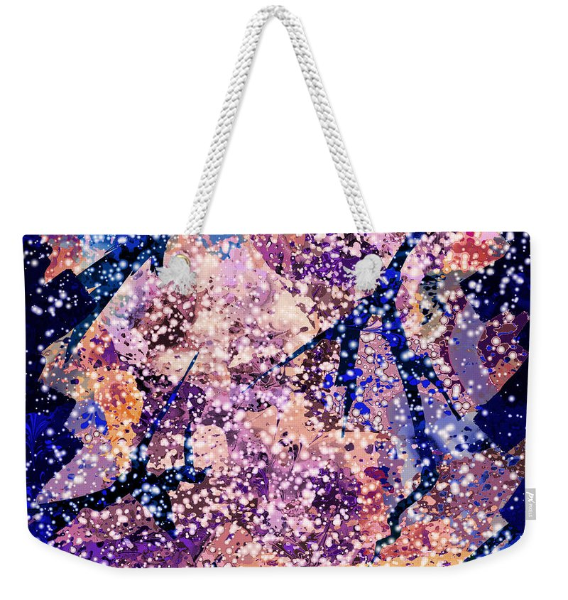 Abstract Weekender Tote Bag featuring the digital art Broken Glass And A Snowstorm by Rachel Christine Nowicki