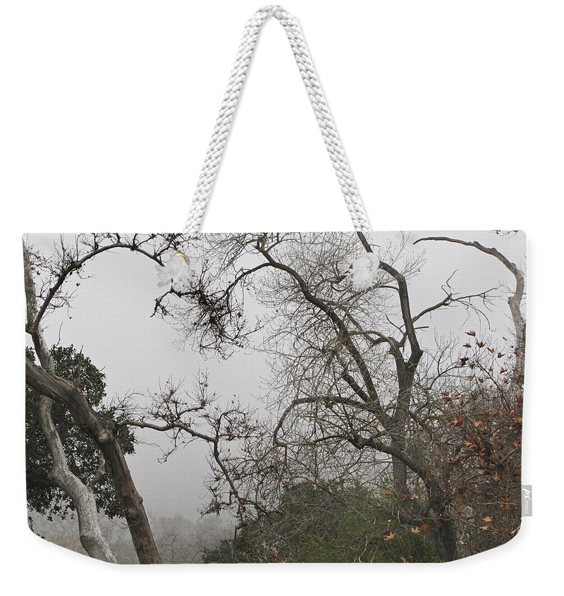 Fog Weekender Tote Bag featuring the photograph Broken Heart In Fog by Karen W Meyer