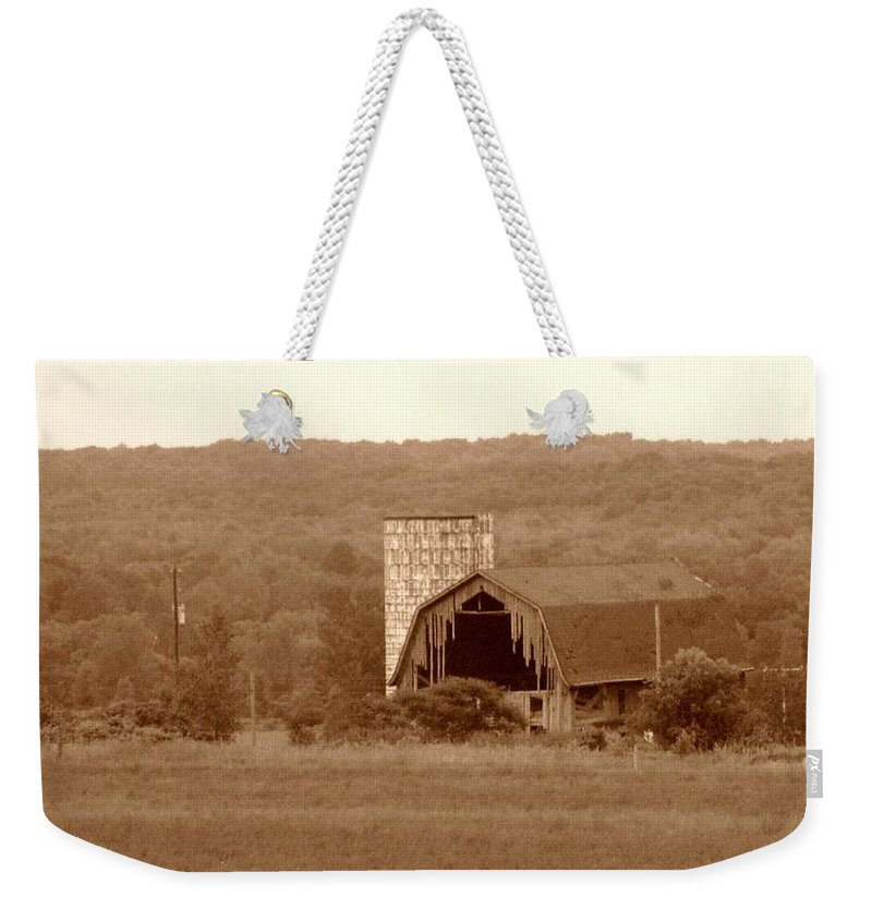 Barn Weekender Tote Bag featuring the photograph Broken by Rhonda Barrett