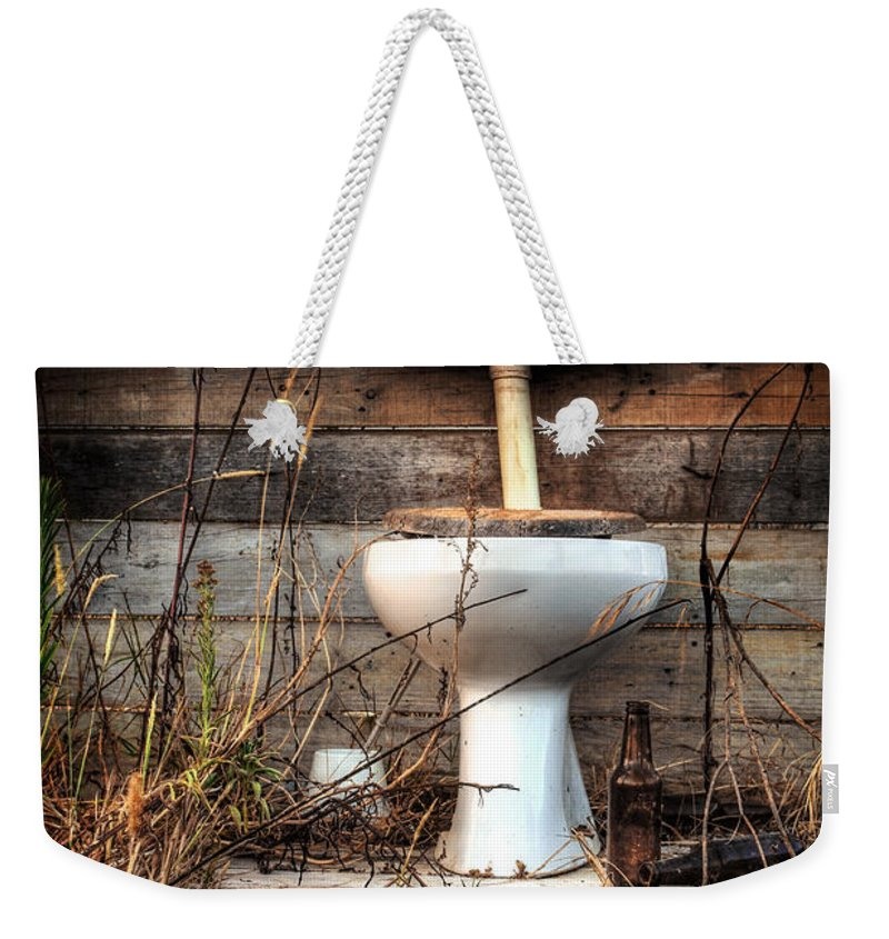 Abandoned Weekender Tote Bag featuring the photograph Broken Toilet by Carlos Caetano
