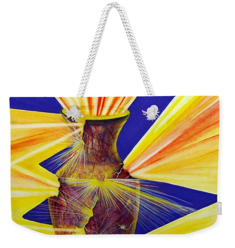 God Weekender Tote Bag featuring the painting Broken Vessel by Nancy Cupp