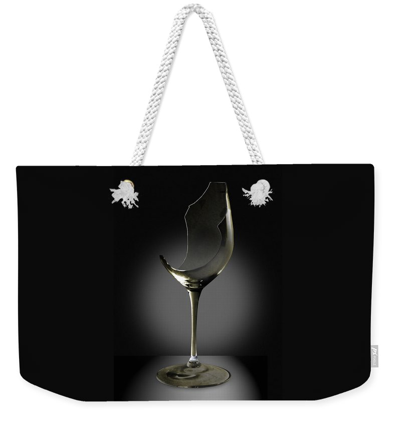 Glassware Weekender Tote Bag featuring the photograph Broken Wine Glass by Yuri Lev