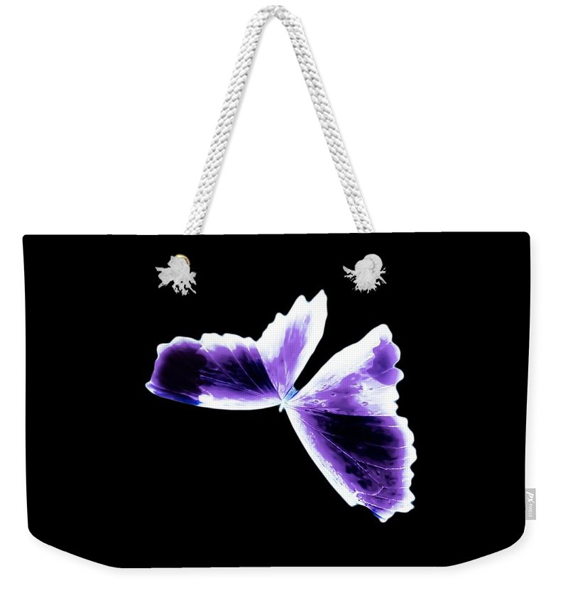 Weekender Tote Bag featuring the photograph Broken Wing Lavender Butterfly by Heather Joyce Morrill