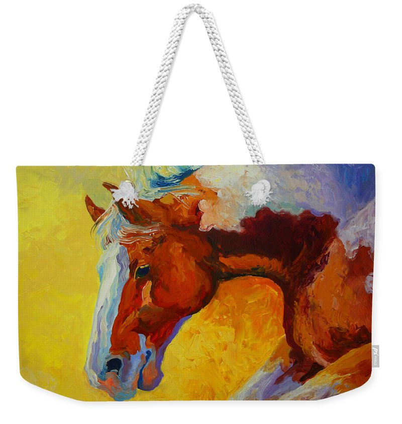 Western Weekender Tote Bag featuring the painting Bronc I by Marion Rose