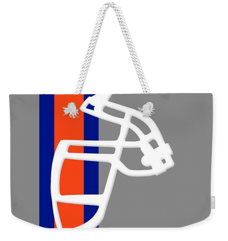 Broncos Weekender Tote Bag featuring the photograph Broncos Facemask Shirt by Joe Hamilton