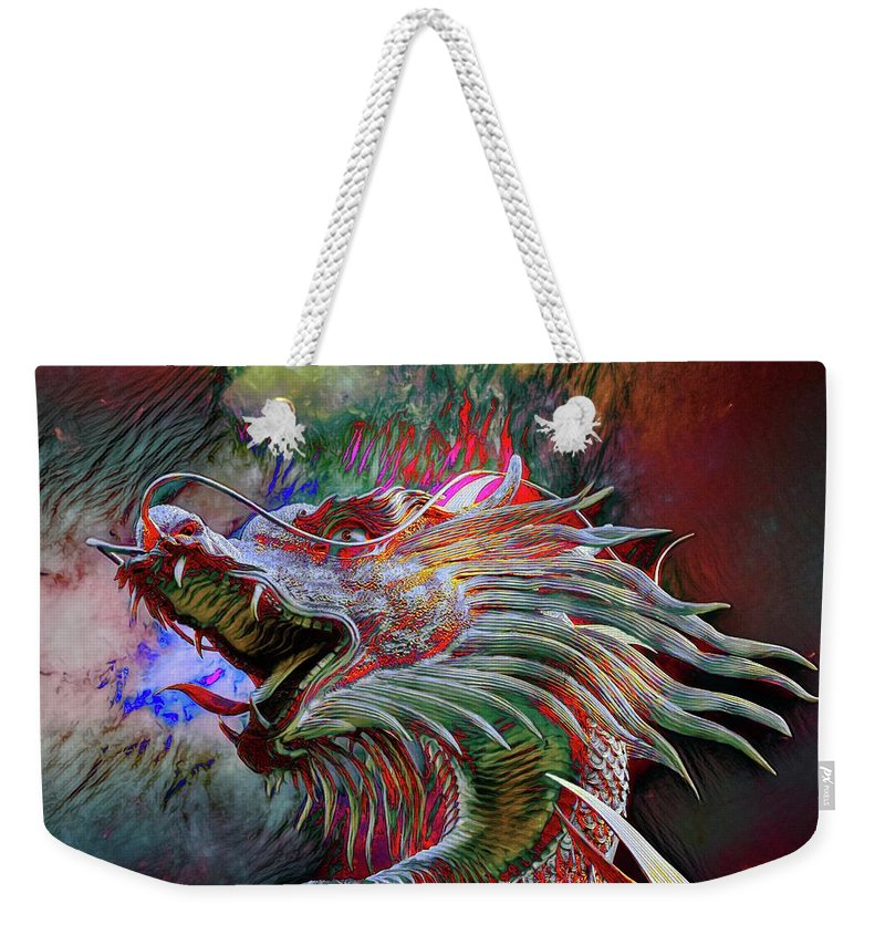 Abstract Weekender Tote Bag featuring the photograph Bronze Dragon Head by Robert Kinser