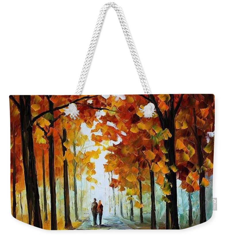Afremov Weekender Tote Bag featuring the painting Bronze Fall by Leonid Afremov