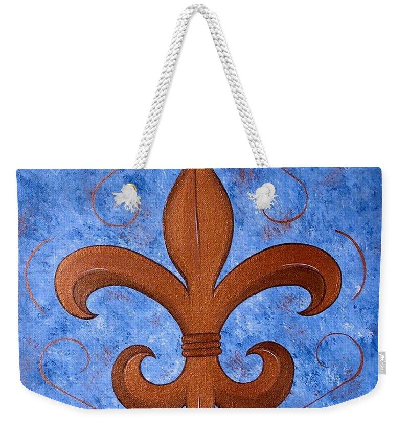 Fleur De Lis Weekender Tote Bag featuring the painting Bronze Fleur De Lis by Valerie Carpenter