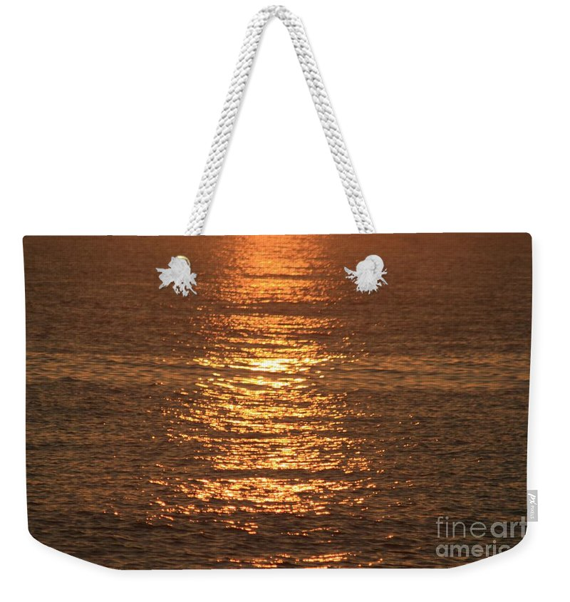 Ocean Weekender Tote Bag featuring the photograph Bronze Reflections by Nadine Rippelmeyer