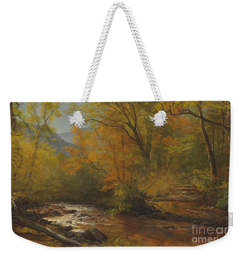 Landscape; Romantic; Romanticist; America; North America; American; North American; Landscape; Rural; Countryside; Wilderness; Scenic; Picturesque; Atmospheric; Brook; Babbling; Stream; River; Wood; Woods; Wooded; Forest; Autumn; Fall; Autumnal; Seasons; Calm; Peaceful; Tranquil Weekender Tote Bag featuring the painting Brook In Woods by Albert Bierstadt