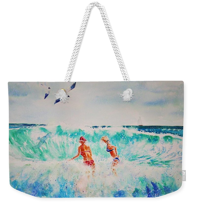 Surf Weekender Tote Bag featuring the painting Brooke And Carey In The Shore Break by Tom Harris
