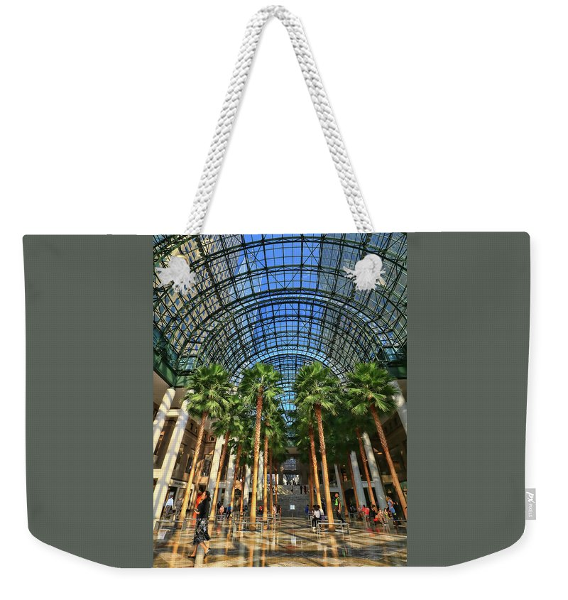 Atrium Weekender Tote Bag featuring the photograph Brookfield Place Atrium - N Y C # 2 by Allen Beatty