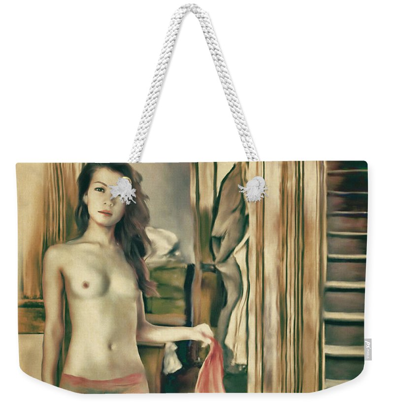 Salome Weekender Tote Bag featuring the painting Brooklyn - Asian American Series by Salome Hooper