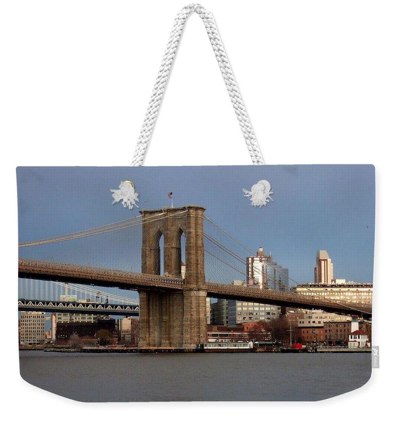Brooklyn Bridge Weekender Tote Bag featuring the photograph Brooklyn Bridge by Anita Burgermeister