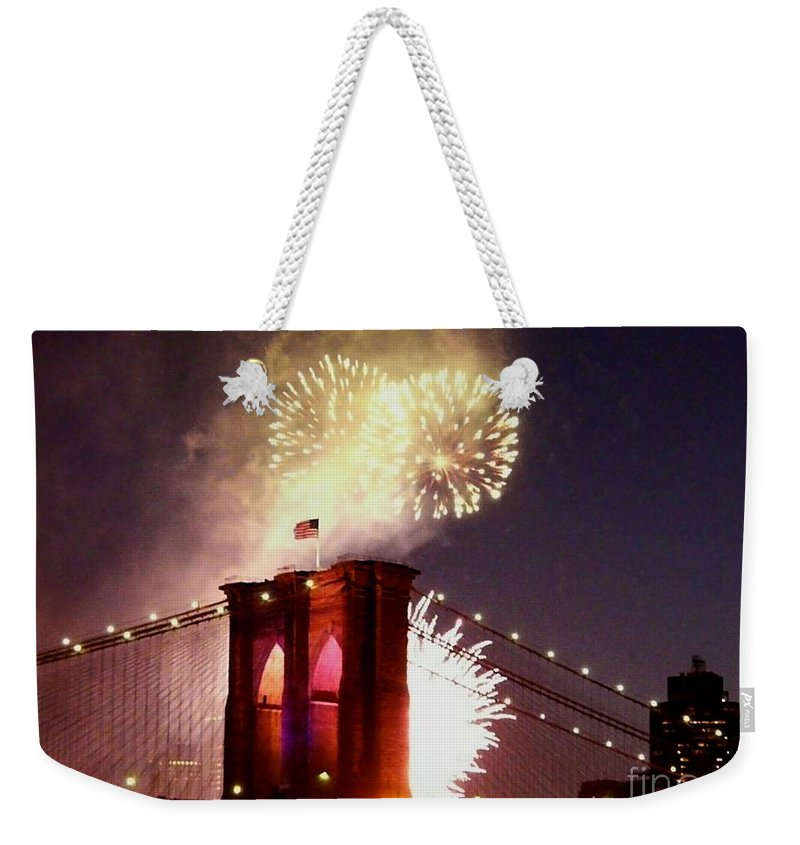 Brooklyn-bridge Weekender Tote Bag featuring the photograph Brooklyn Bridge Celebration by Kendall Eutemey