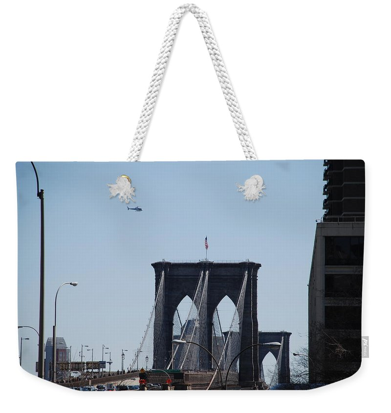 Architecture Weekender Tote Bag featuring the photograph Brooklyn Bridge by Rob Hans