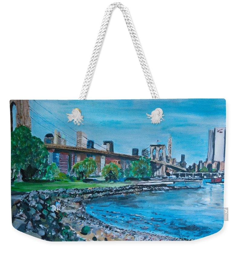 Street Scene Weekender Tote Bag featuring the painting Brooklyn Bridge by Wayne Pearce