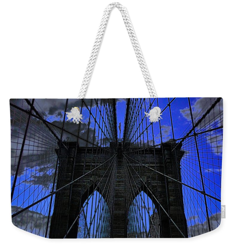 The Brooklyn Bridge Weekender Tote Bag featuring the photograph Brooklyn Bridge by Xueling Zou