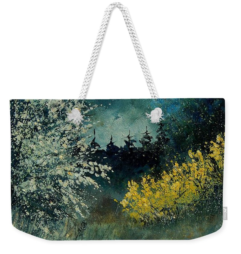 Spring Weekender Tote Bag featuring the painting Brooms Shrubs by Pol Ledent