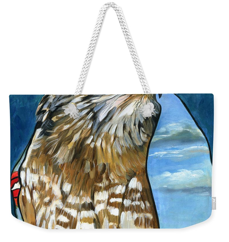 Hawk Weekender Tote Bag featuring the painting Brother Hawk by J W Baker