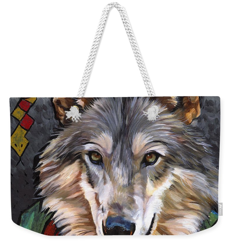 Wolf Weekender Tote Bag featuring the painting Brother Wolf by J W Baker