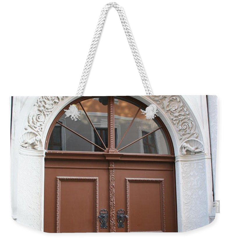 Door Weekender Tote Bag featuring the photograph Brown Door by Christiane Schulze Art And Photography