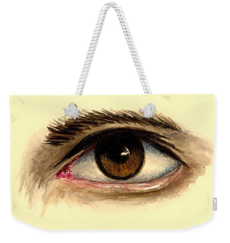 Eye Weekender Tote Bag featuring the painting Brown Eye by Michael Vigliotti