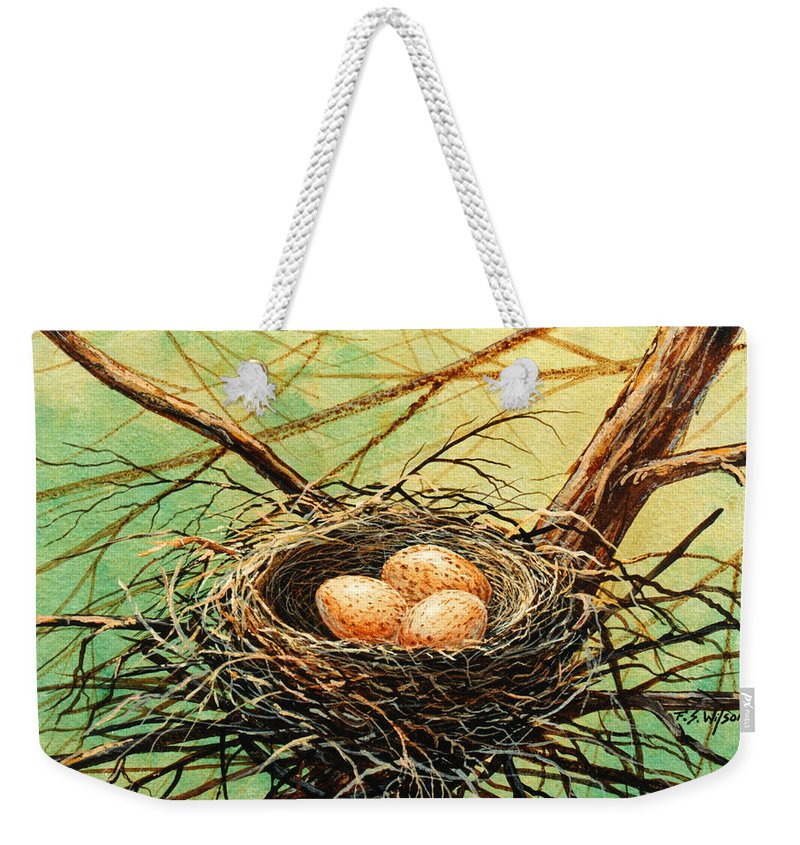 Wildlife Weekender Tote Bag featuring the painting Brown Speckled Eggs by Frank Wilson