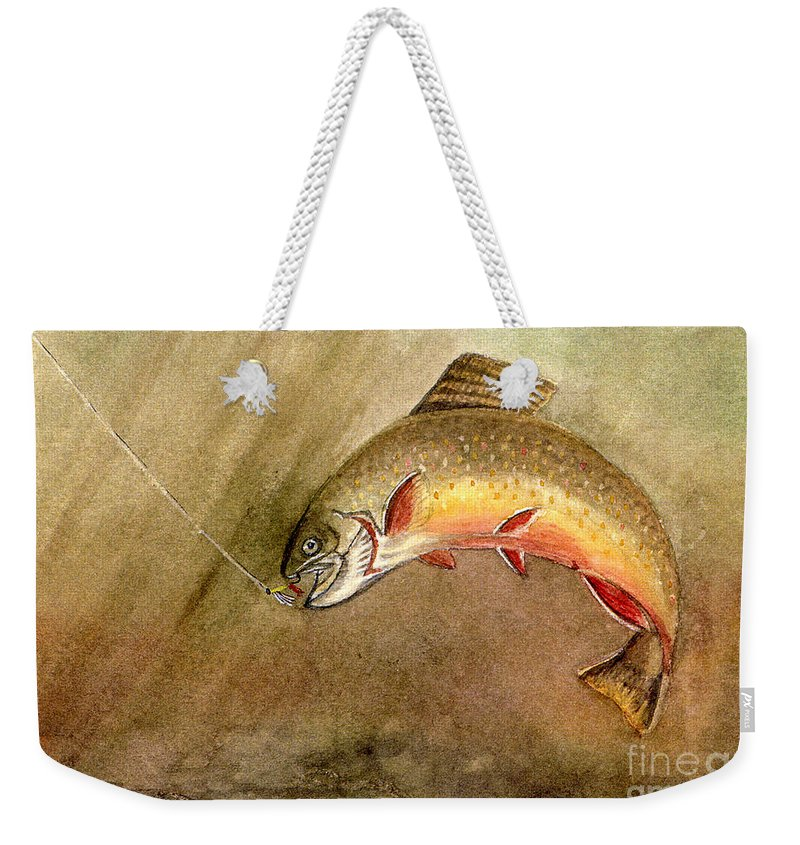 Trout Weekender Tote Bag featuring the painting Brown Trout by Mary Tuomi