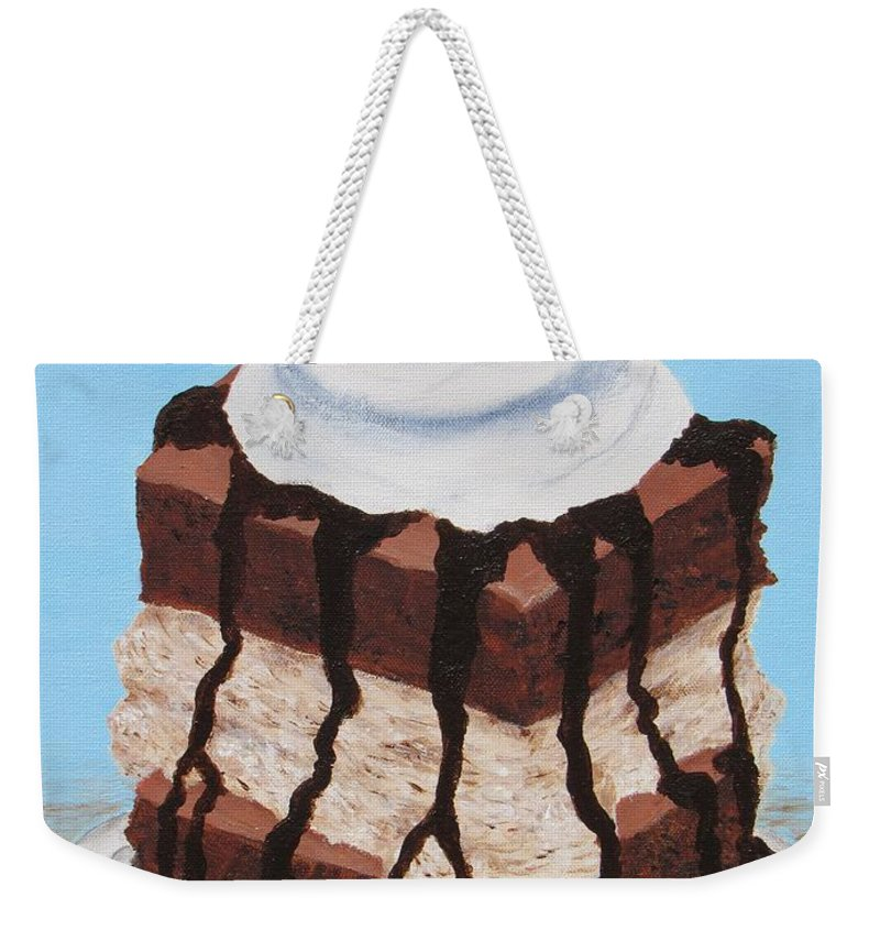 Brownie Weekender Tote Bag featuring the painting Brownie Ice Cream Sandwich by Nancy Nale