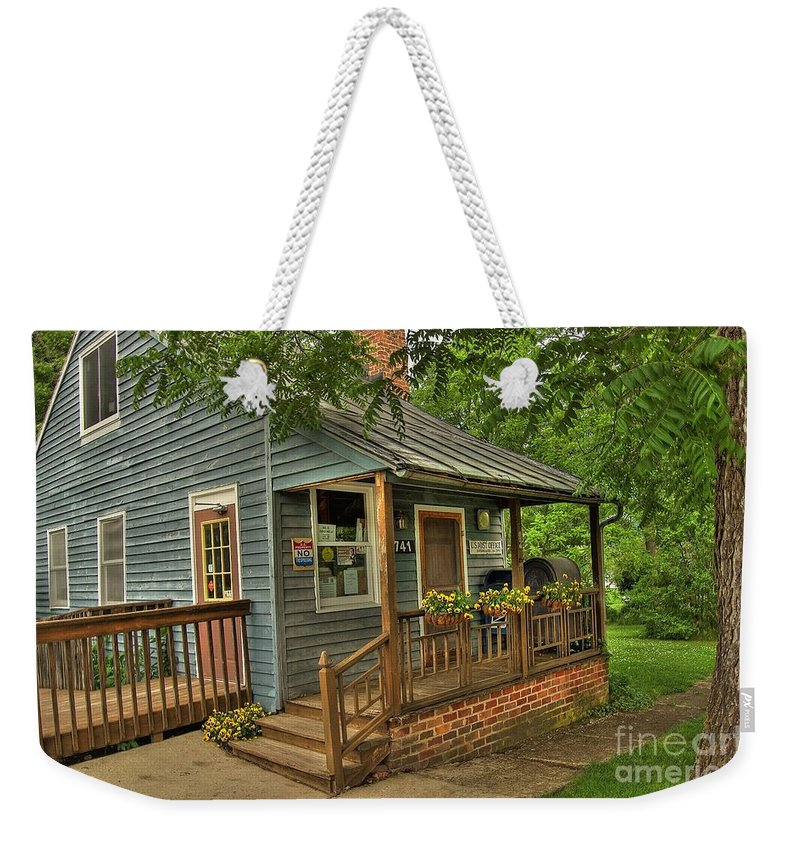 Old Weekender Tote Bag featuring the photograph Brownsburg Post Office by Todd Hostetter