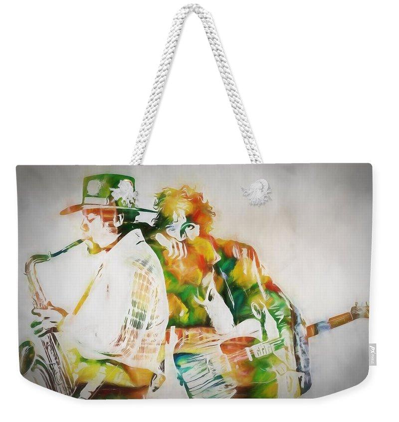 Bruce And The Big Man Weekender Tote Bag featuring the painting Bruce And The Big Man by Dan Sproul