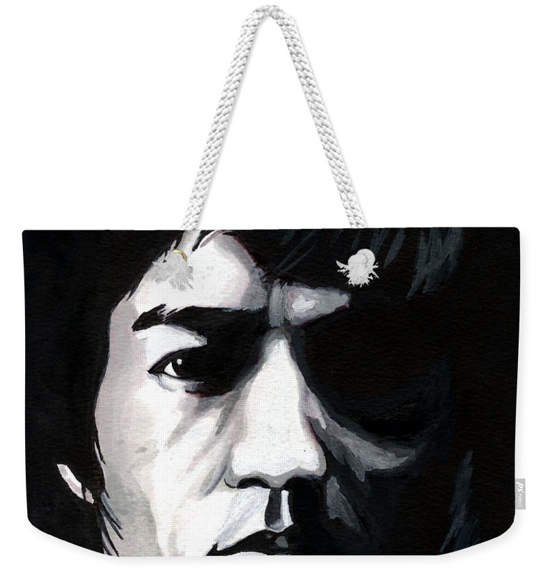 Bruce Lee Weekender Tote Bag featuring the mixed media Bruce Lee Portrait by Alban Dizdari
