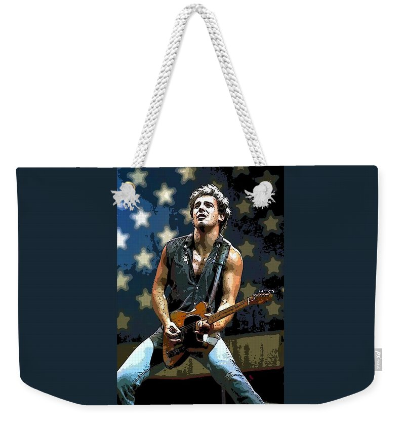 Bruce Springsteen Singer New Jersey Weekender Tote Bag featuring the painting Bruce Springsteen Born To Run by Lulu Escudero