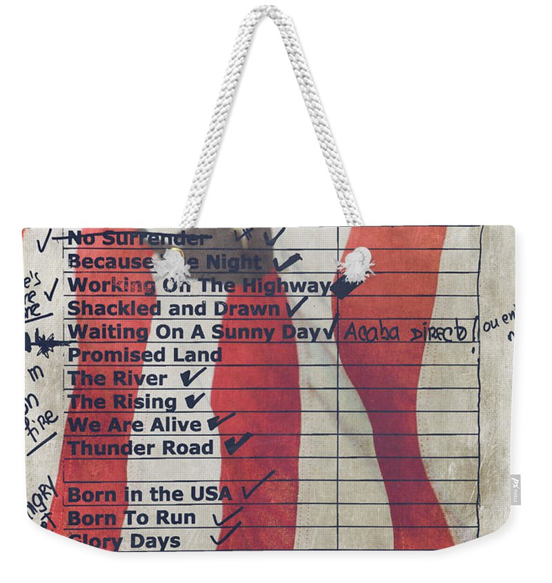 Bruce Springsteen Weekender Tote Bag featuring the photograph Bruce Springsteen Setlist at Rock in Rio Lisboa 2012 by Marco Oliveira