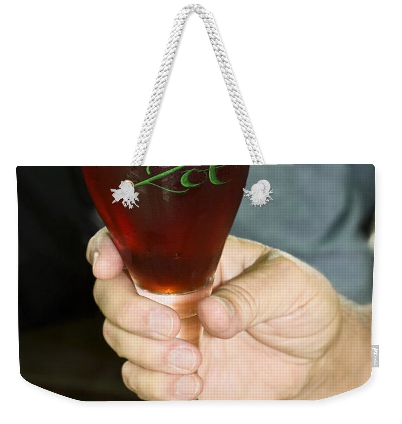 Stemmed Glass Weekender Tote Bag featuring the photograph Brugge Belgium Beer by Sally Weigand