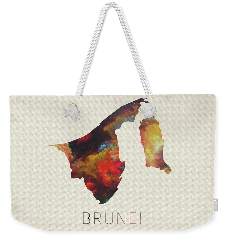 Brunei Weekender Tote Bag featuring the mixed media Brunei Watercolor Map by Design Turnpike