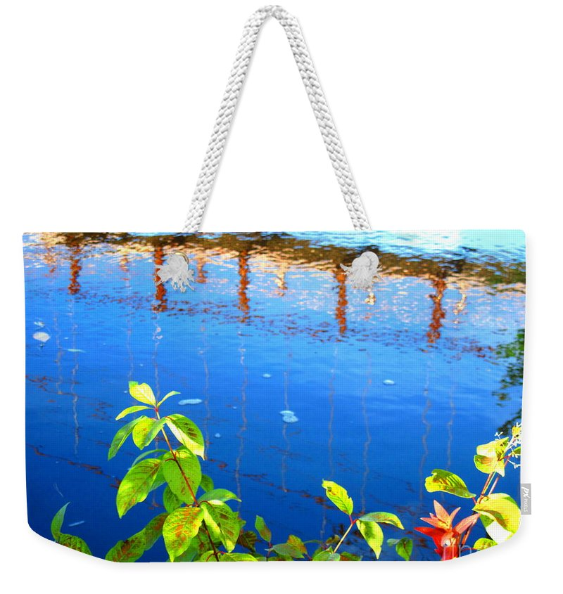 Water Weekender Tote Bag featuring the photograph Brunswick Maine Walking Bridge by Sybil Staples