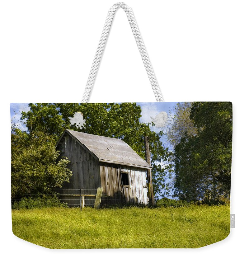 Landscape Weekender Tote Bag featuring the photograph Brushy Peak Cabin by Karen W Meyer