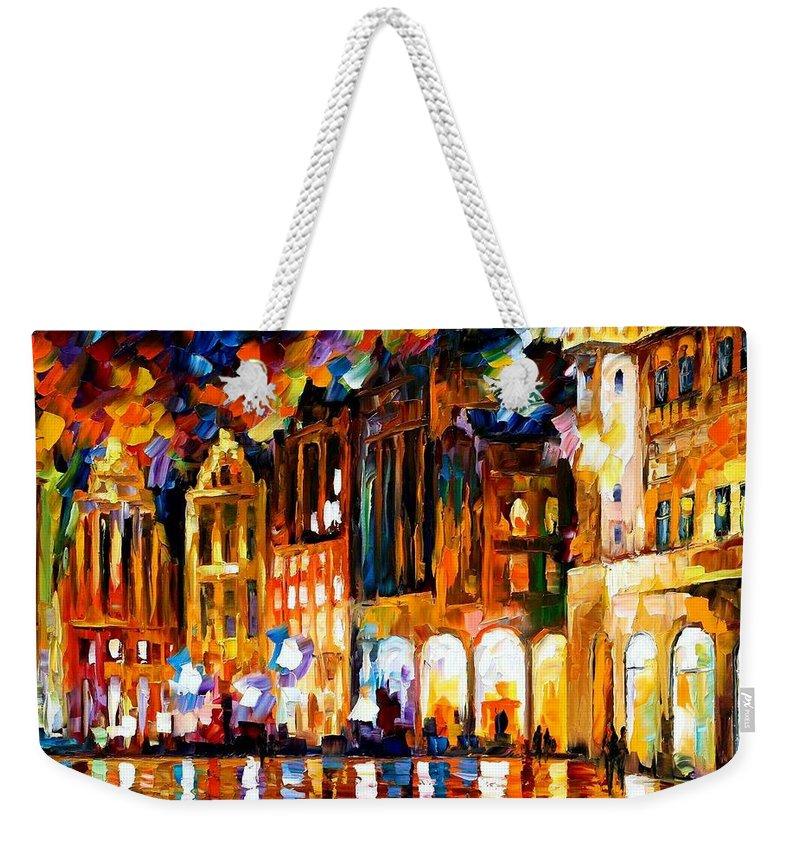 Afremov Weekender Tote Bag featuring the painting Brussels by Leonid Afremov