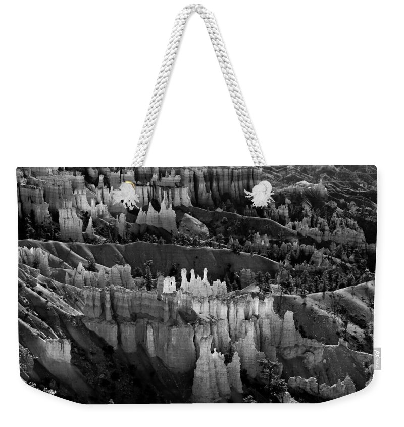 Bryce Canyon Weekender Tote Bag featuring the photograph Bryce Canyon In Black And White by James BO Insogna