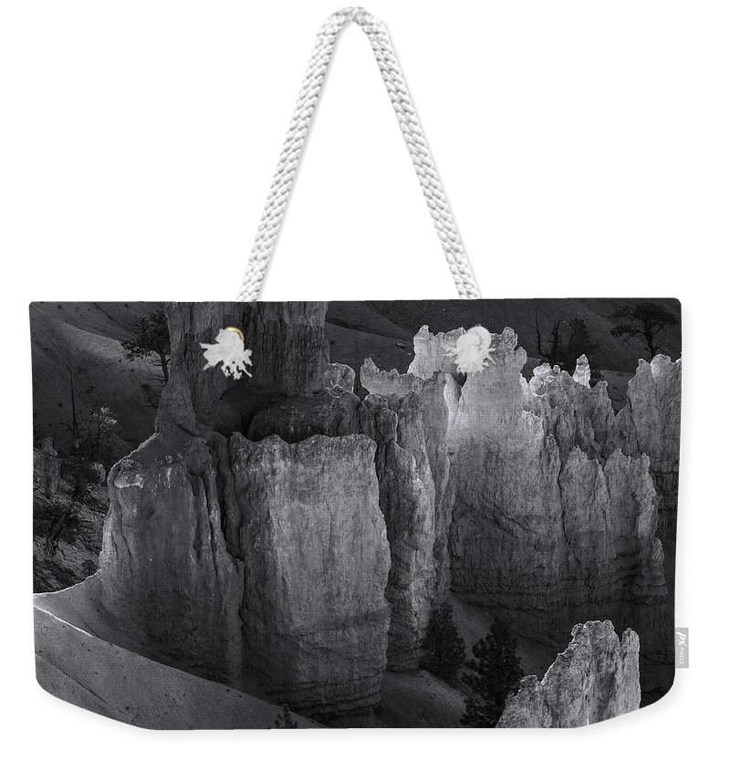 Arizona; Arizona Canyon; Canyon; United States; Usa; Southwest; Clouds; America; American; Beauty; Black; Deep; Desert; Environment; Erosion; Formation; Geology; Grand; Weekender Tote Bag featuring the photograph Brycecanyon 7 by Ingrid Smith-Johnsen