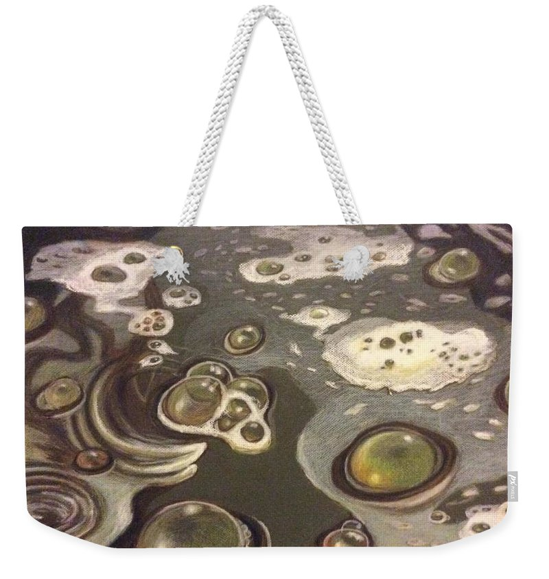 Bubbles Weekender Tote Bag featuring the painting Bubble Boil and Trouble 1 by Art Nomad Sandra Hansen