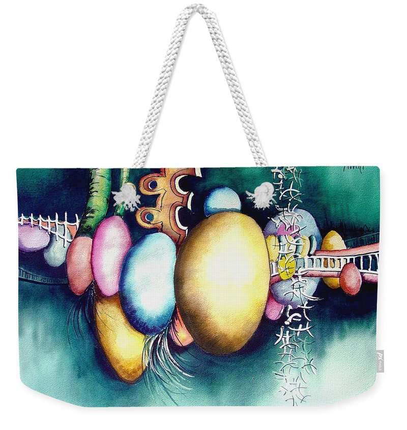 Frog Weekender Tote Bag featuring the painting Bubble Frog by Sam Sidders