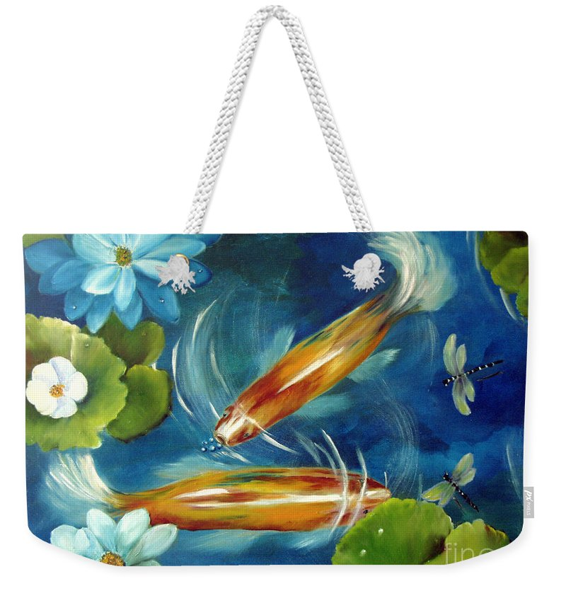 Koi Weekender Tote Bag featuring the painting Bubble Maker by Carol Sweetwood