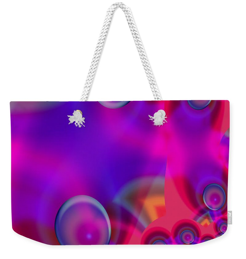 Bubbles Color Colorful Rainbow Pink Blue Yellow Purple Abstract Weekender Tote Bag featuring the digital art Bubble Trails by Andrea Lawrence