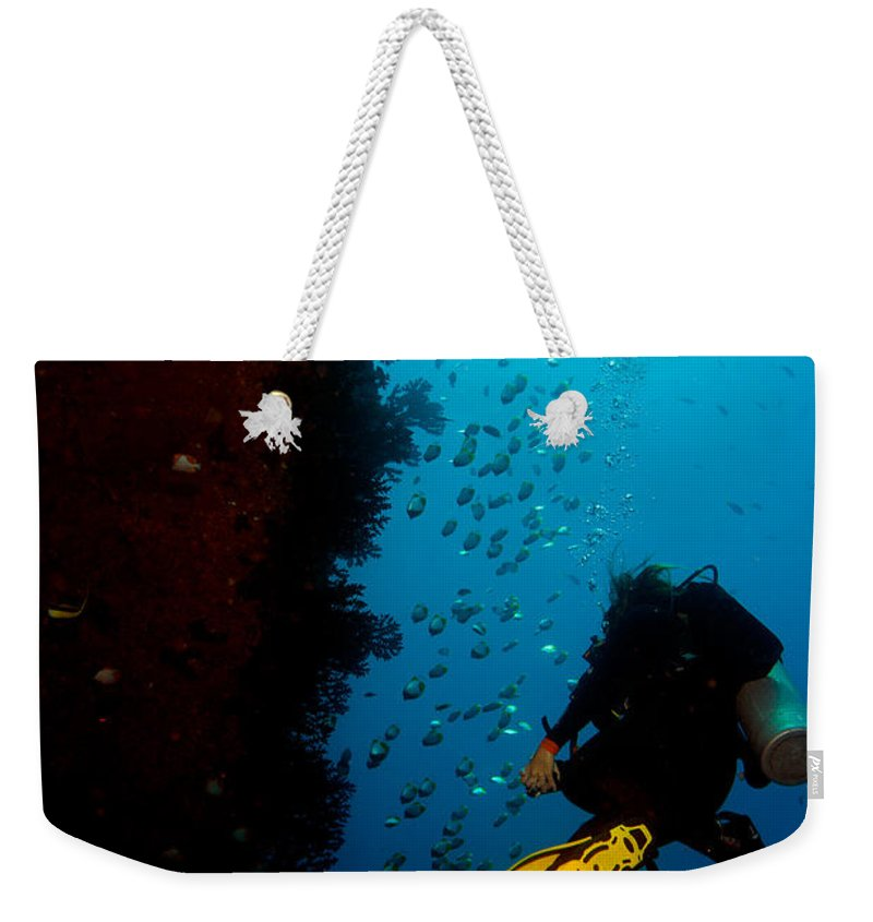 Diving Weekender Tote Bag featuring the photograph Bubbles And Butterfly Fish by Mumbles and Grumbles
