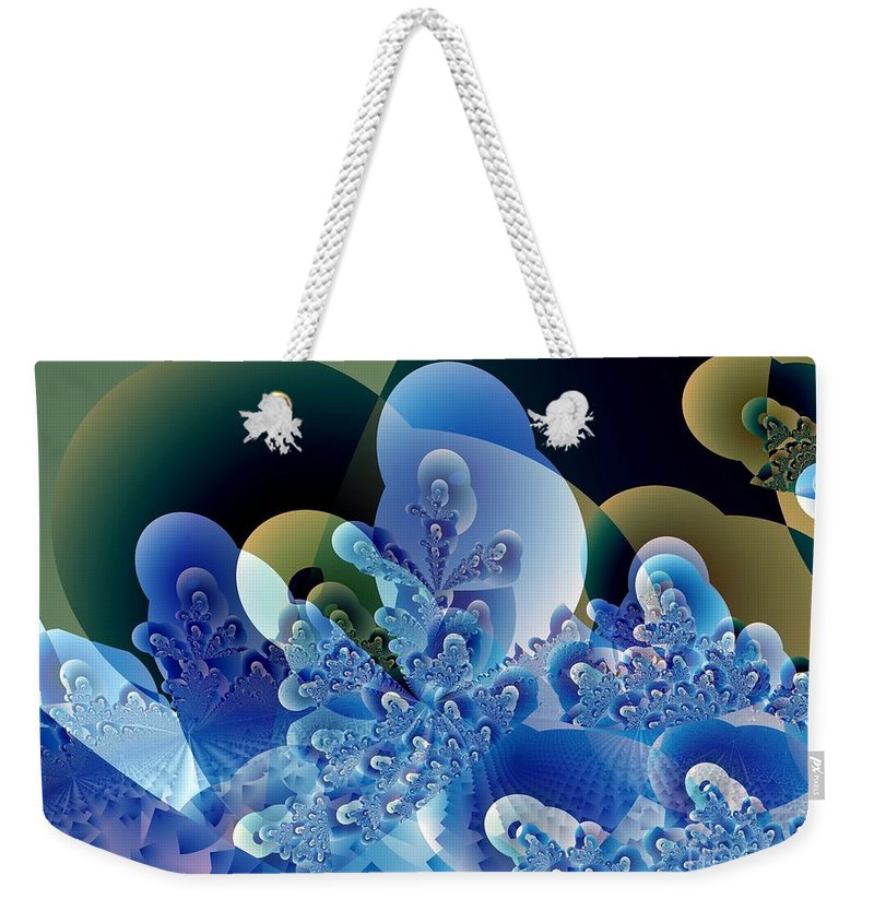 Fractal Art Weekender Tote Bag featuring the digital art Bubbles And Sharp Points by Ron Bissett